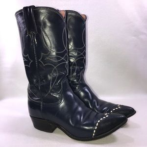 Justin Shortie Riding Navy Leather Boots 5.5B